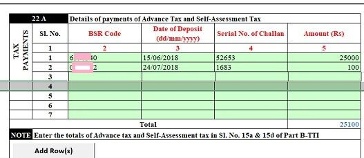 Advance Tax and Self Assessment Tax details in prefilled XML