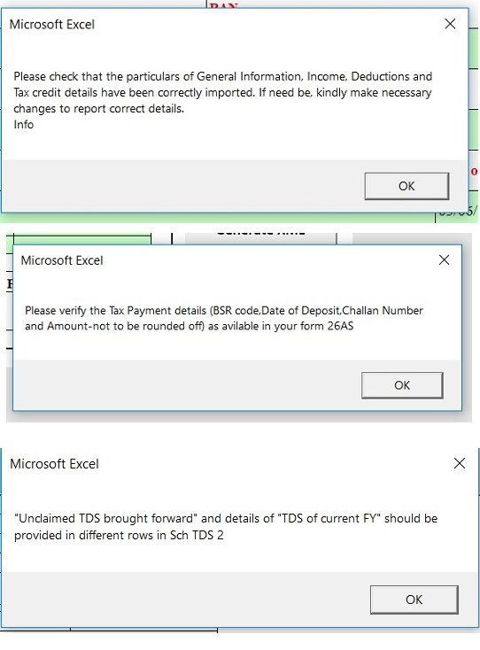 Warnings on Importing Prefilled XML into ITR Excel