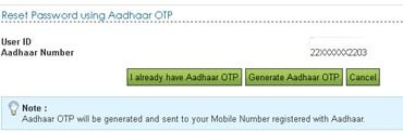 Using Aadhaar and OTP reset password if you forget password of income tax website