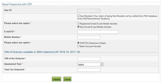 Reset password with OTP to new email and/or mobile number at Income tax efiling site