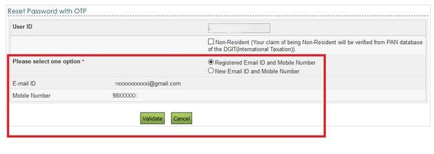 Reset password with OTP to email and mobile number registered with Income tax efiling site