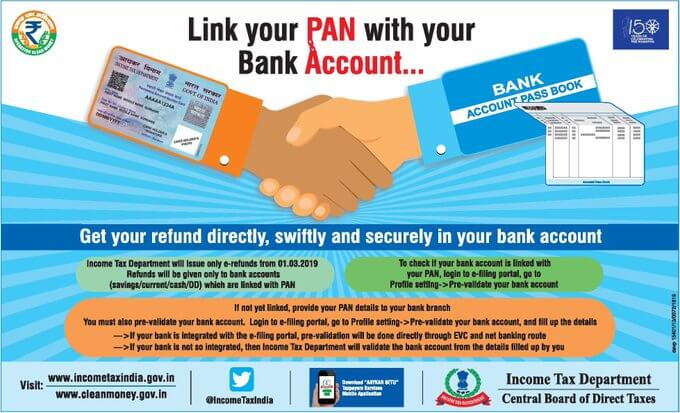 Link you PAN with Bankk Account for Income Tax Refunds