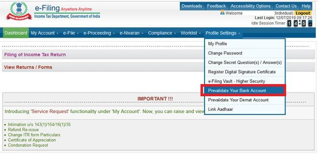 Check prevalidated Bank Accounts with Income Tax website