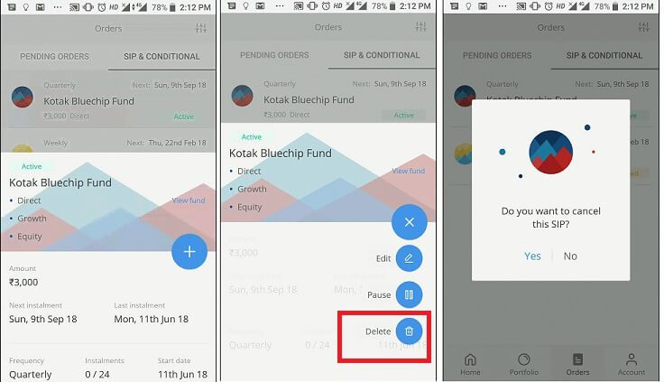 How to Cancel SIP in Zerodha Coin