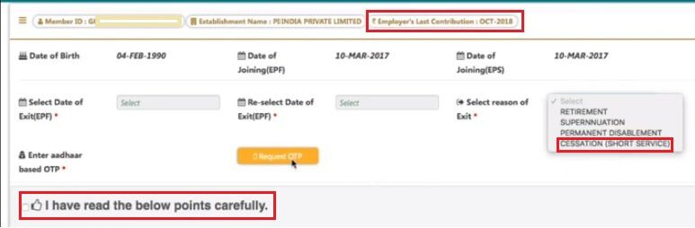 Update the Date of Exit in EPF