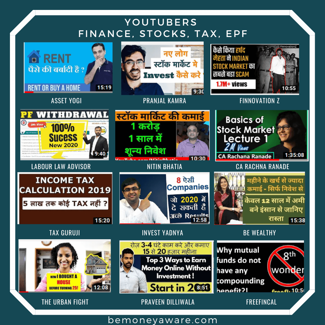 YouTube Channels for Indians about Personal Finance, Stock, EPF, Tax