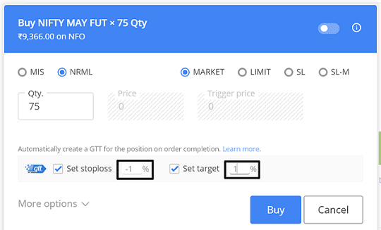 How to set Zerodha GTT order on Zerodha for Nifty and Nifty Bank Futures and Options
