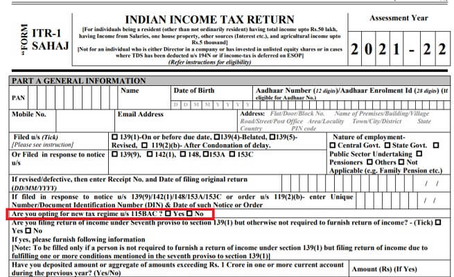 ITR1 For FY 2020-21 Choice of old or new Tax regime