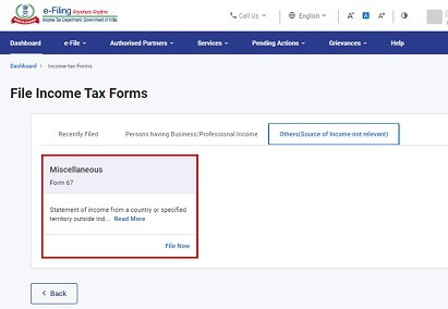 Form 67 on New Income Tax Website