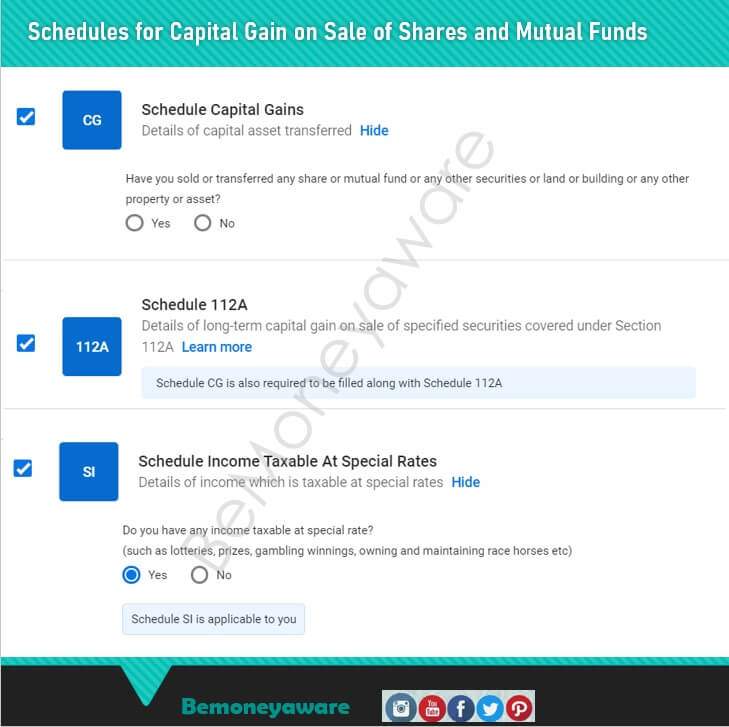 Select Schedules in ITR for Capital Gains