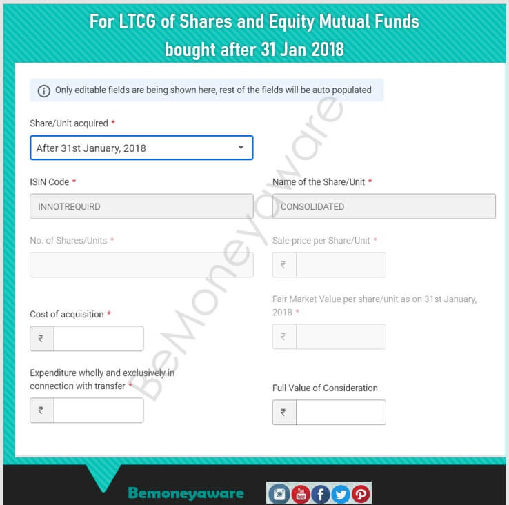 Details for Long Term capital gains of shares and equity Mutual Funds in ITR