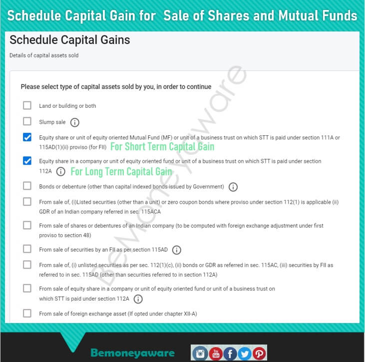 Select Short and Long Term Capital Gain in ITR